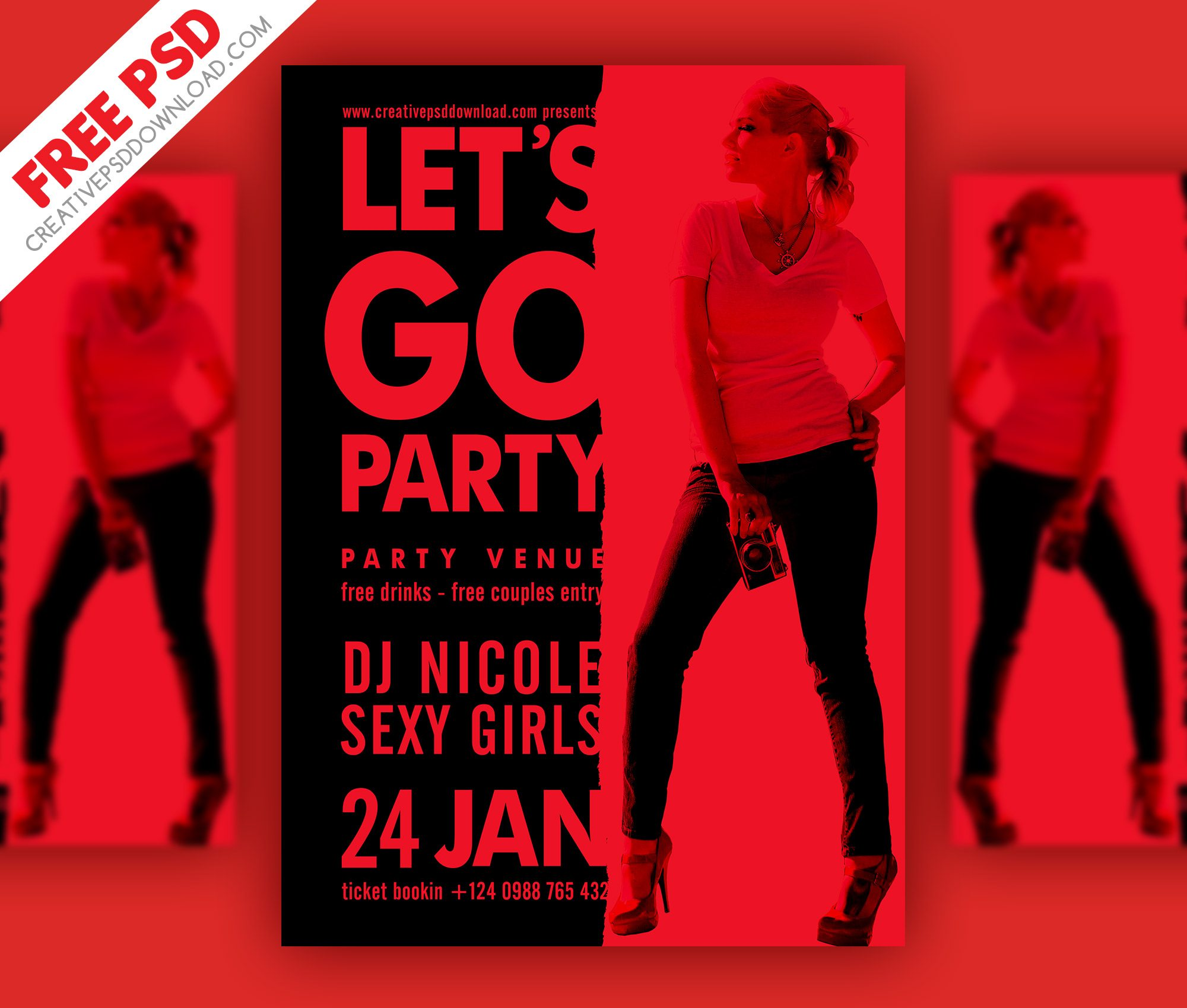 Minimalist Party Flyer PSD Freebie