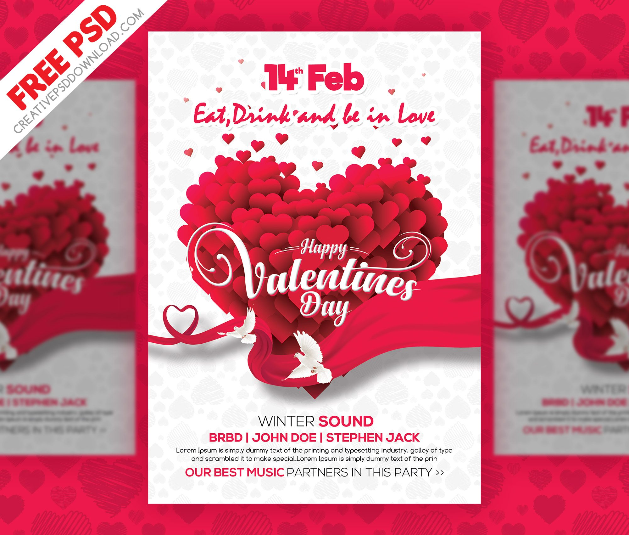 Valentines Day Clean Flyer PSD Freebie