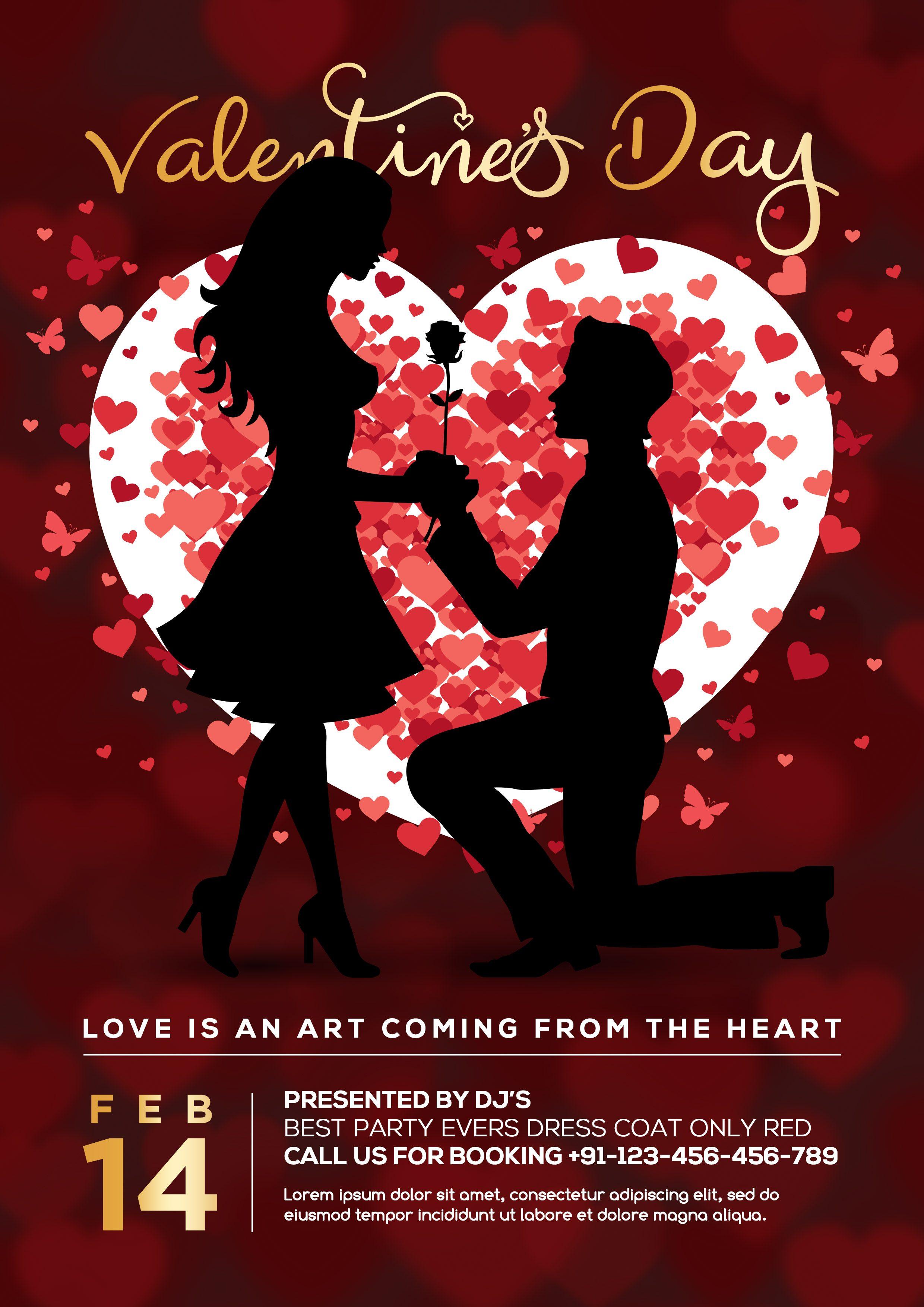 Valentines Party Flyer PSD Freebie