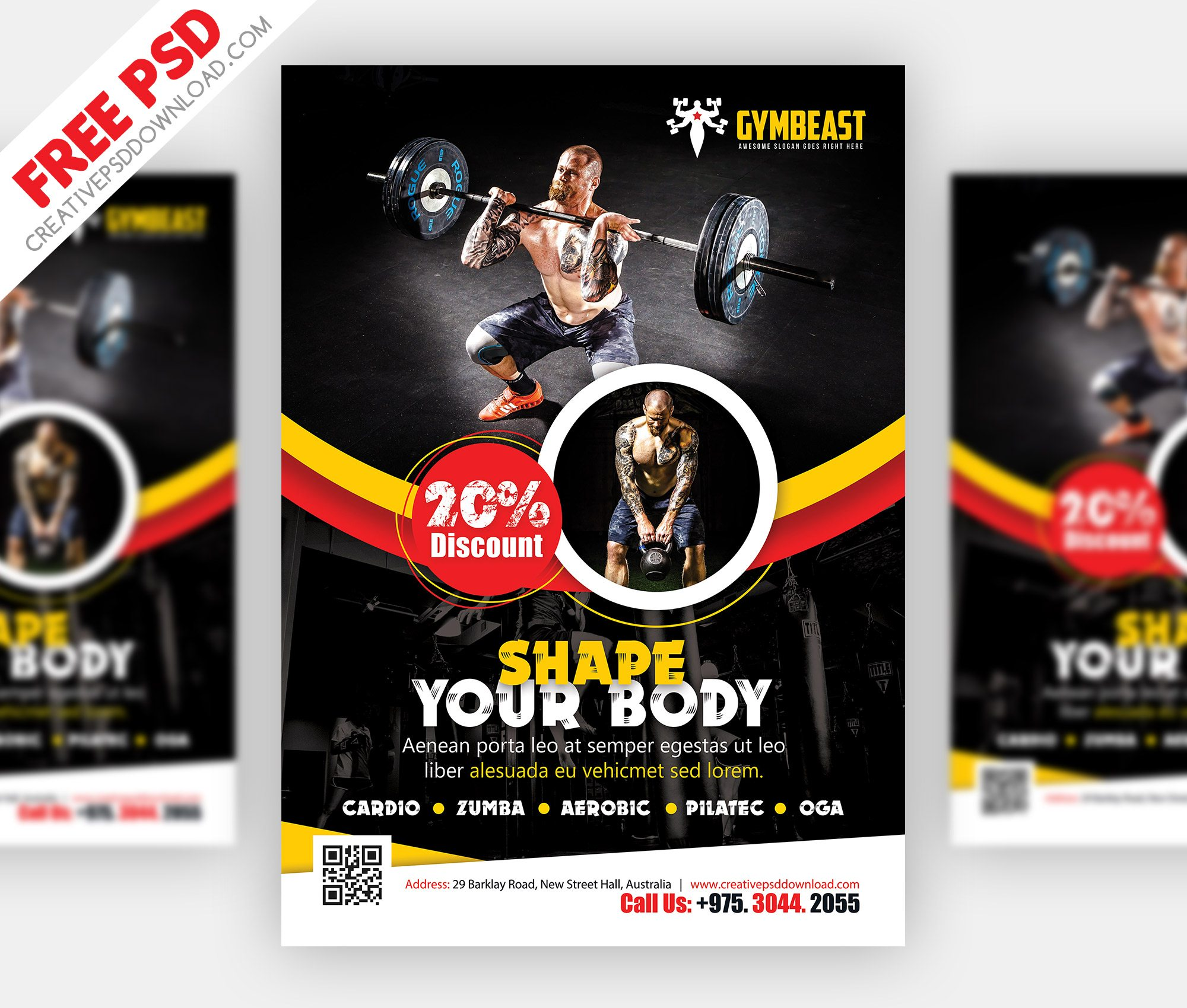 Fitness Flyer Free PSD
