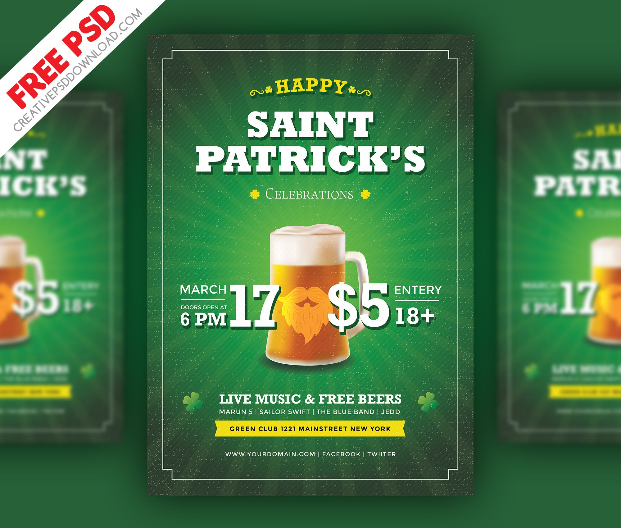 Saint Patrick Party Flyer Free PSD