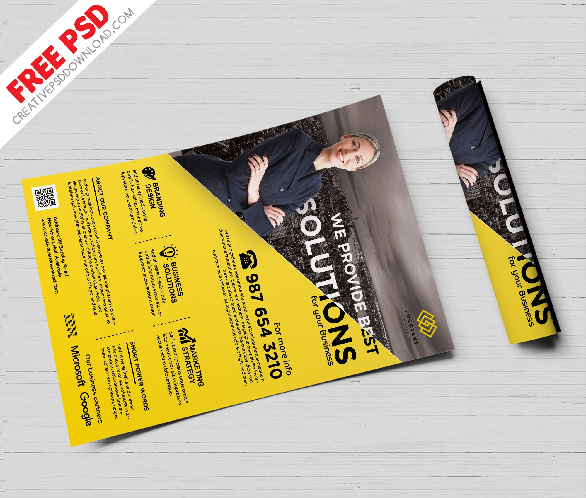 Business Solutions Flyer Free PSD