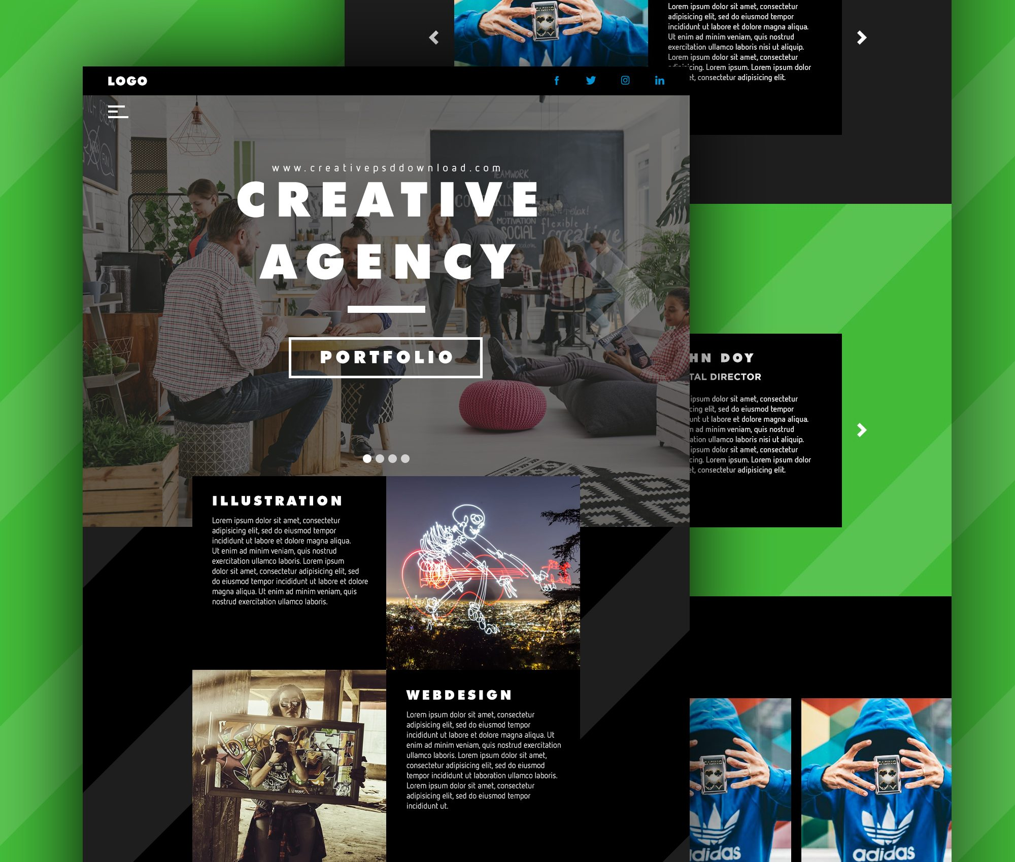 Creative Agency Website Homepage Free PSD