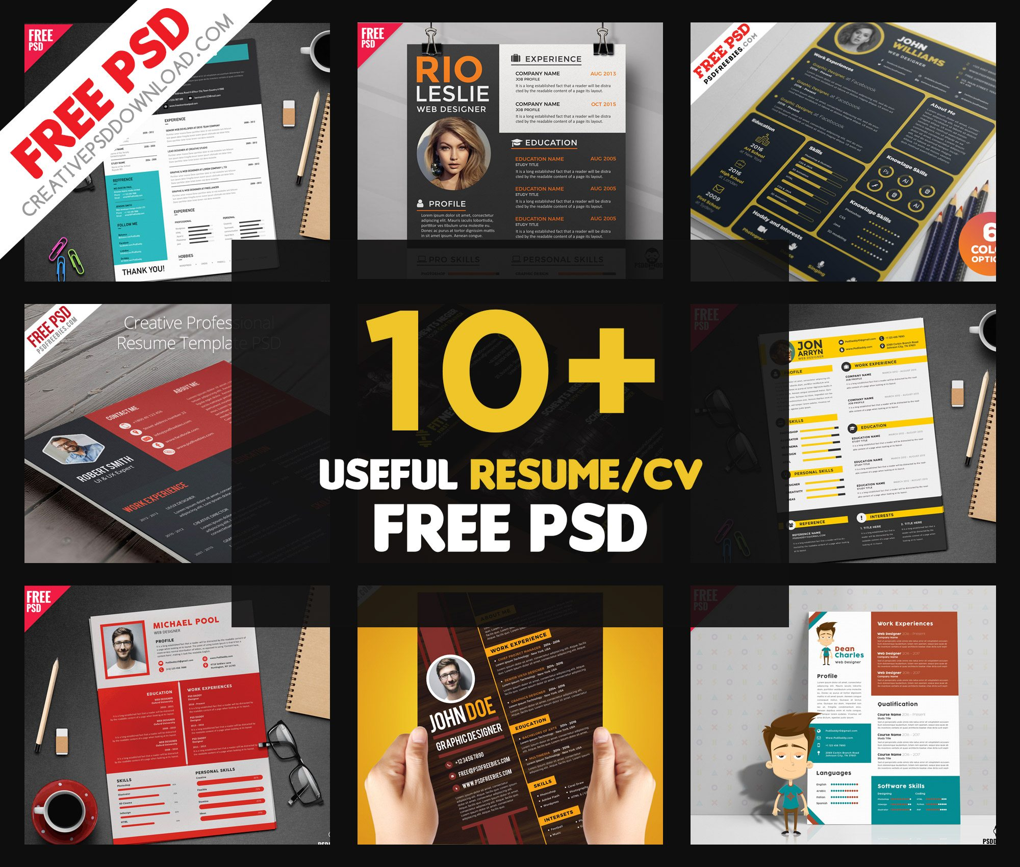 10+ Useful Resume CV Free PSD