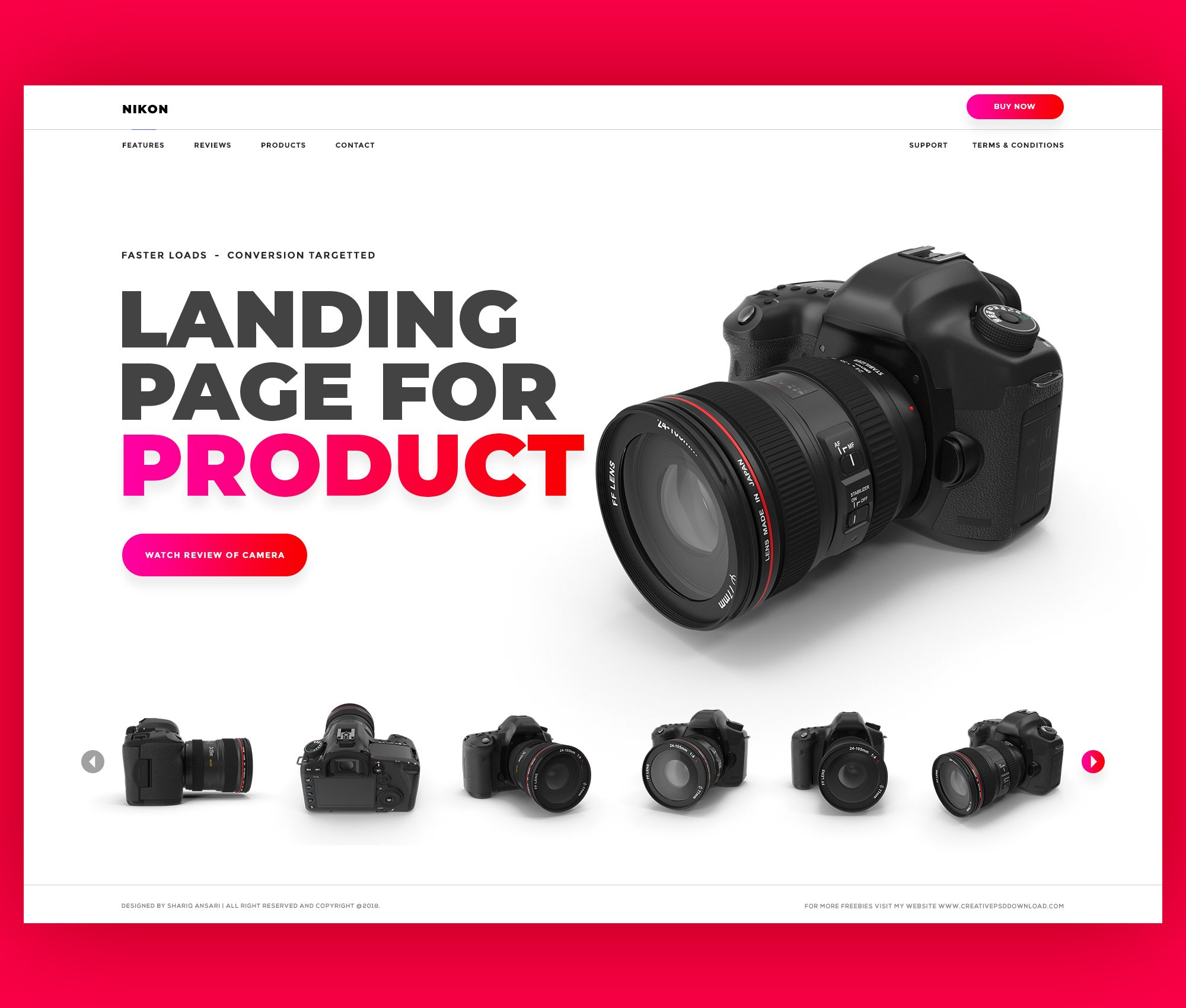 Product Landing Page Website Free PSD