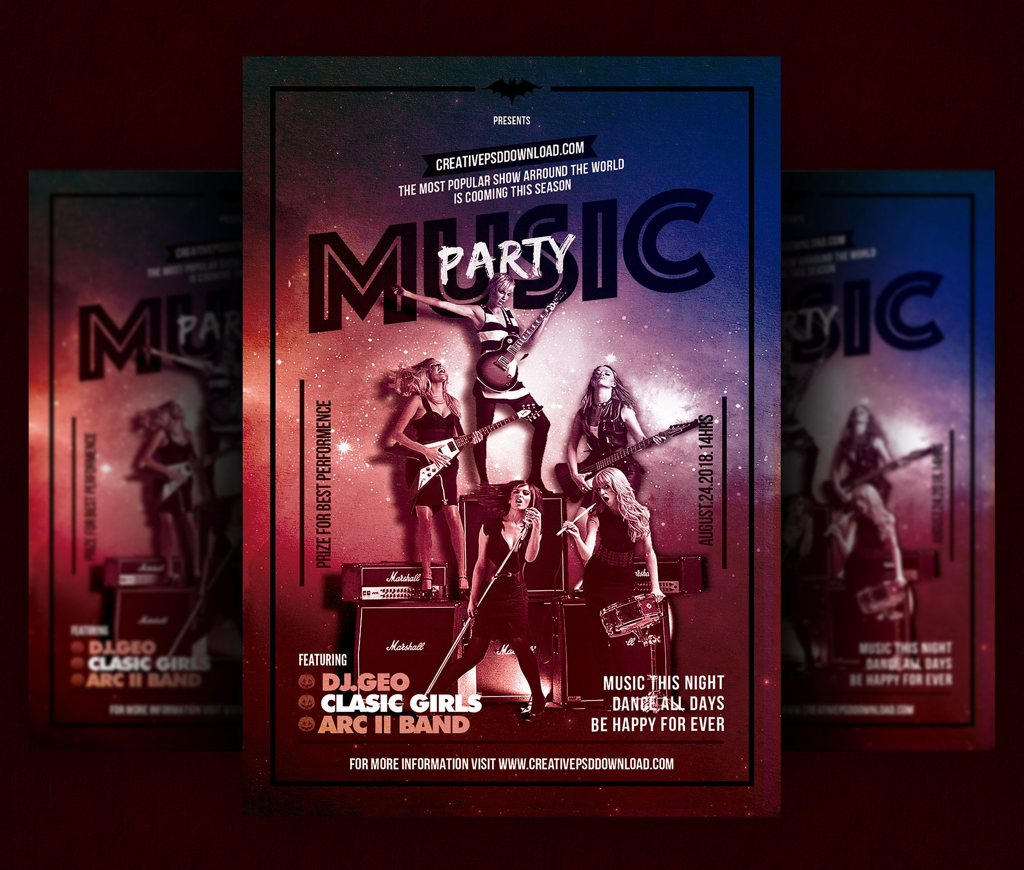 Music Party Flyer Free PSD Template