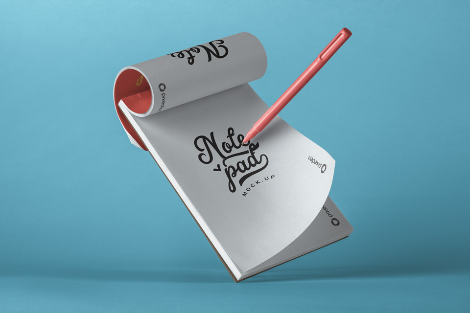 Floating Notepad with Pen Mockup