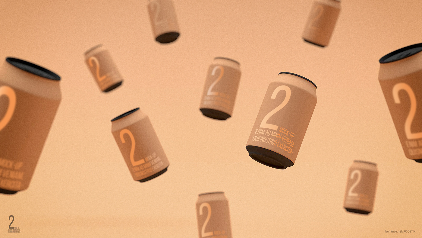 Flying Soda Cans Mockup
