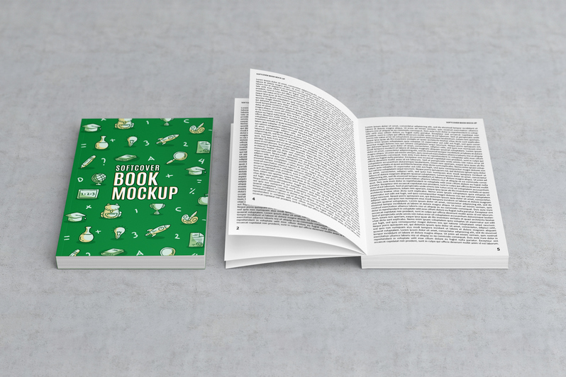 Open and closed Softcover Book Mockup