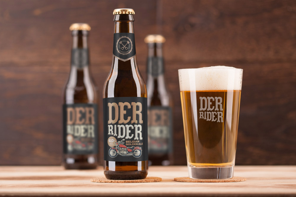 Labeled Beer Bottles Mockup