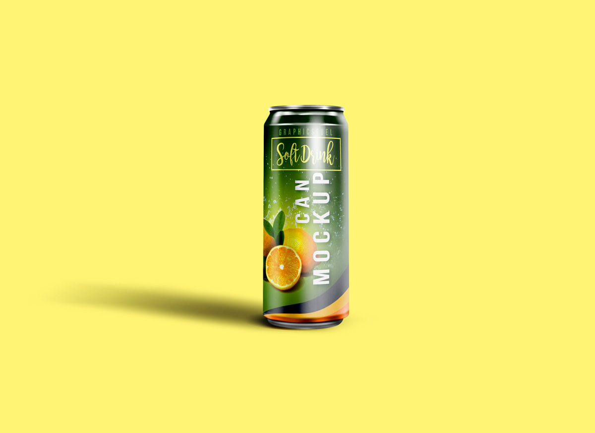 Single Soda Can Mockup