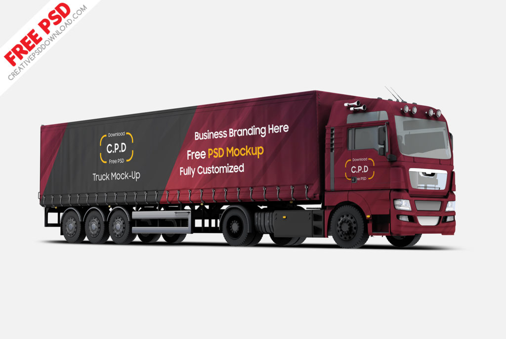 Trailer Truck Mockup Free PSD – 4 Mockups [PSD]