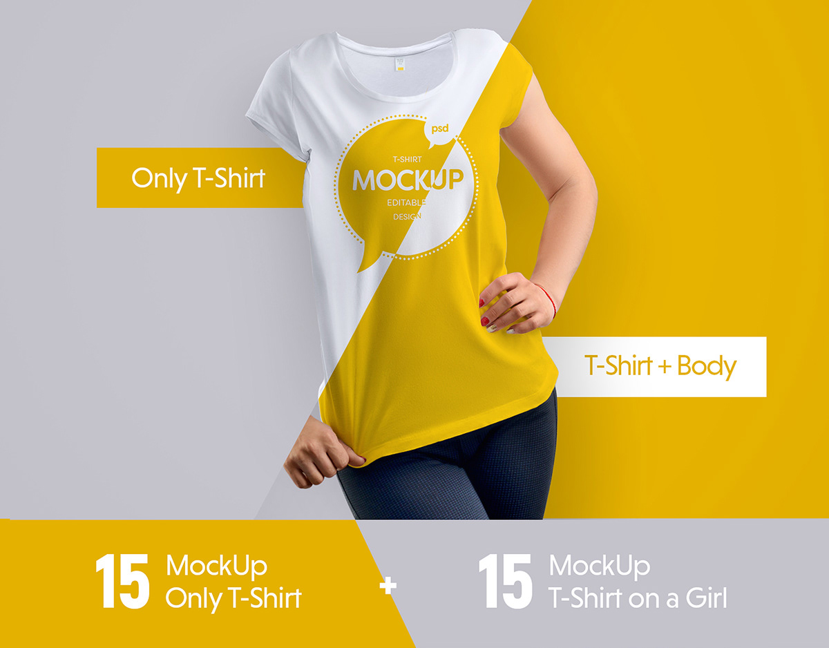 Girl wearing printed T-Shirt Mockup