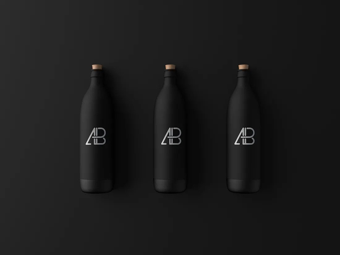 Three matte black Bottles Mockup
