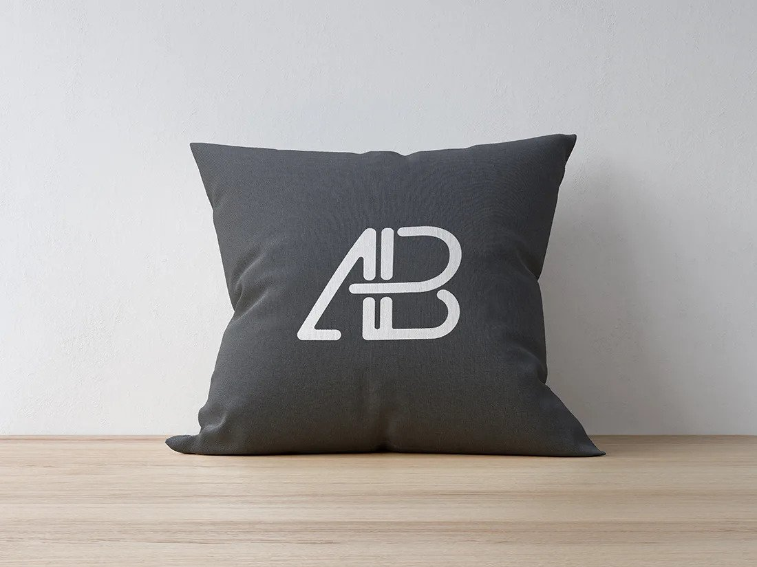 Pillow leaning against a Wall Mockup