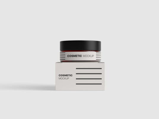 Cosmetic Jar with Box Mockup