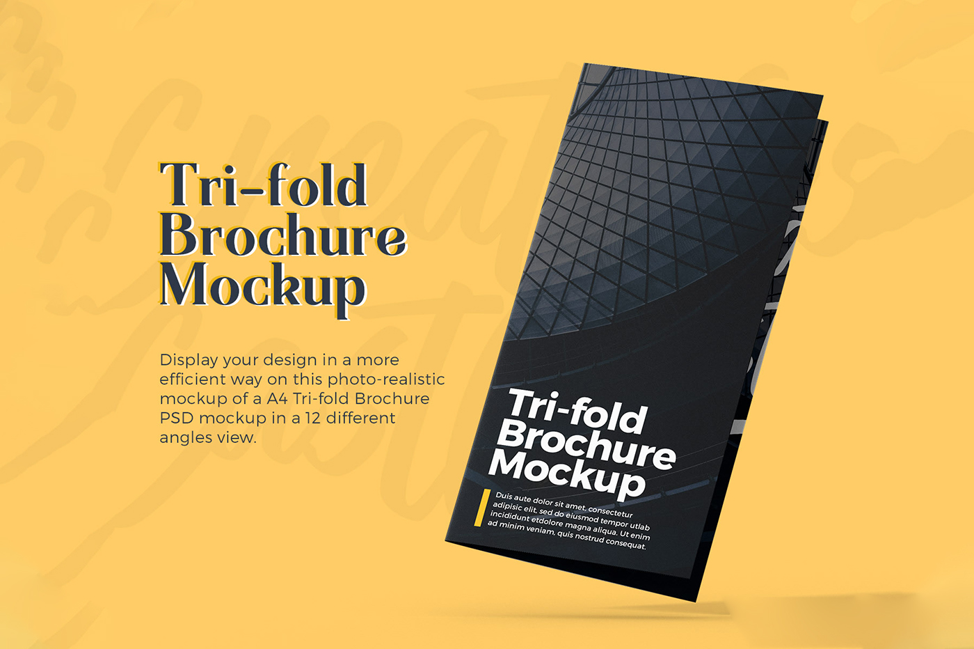 Floating A4 tri-fold Brochure Mockup