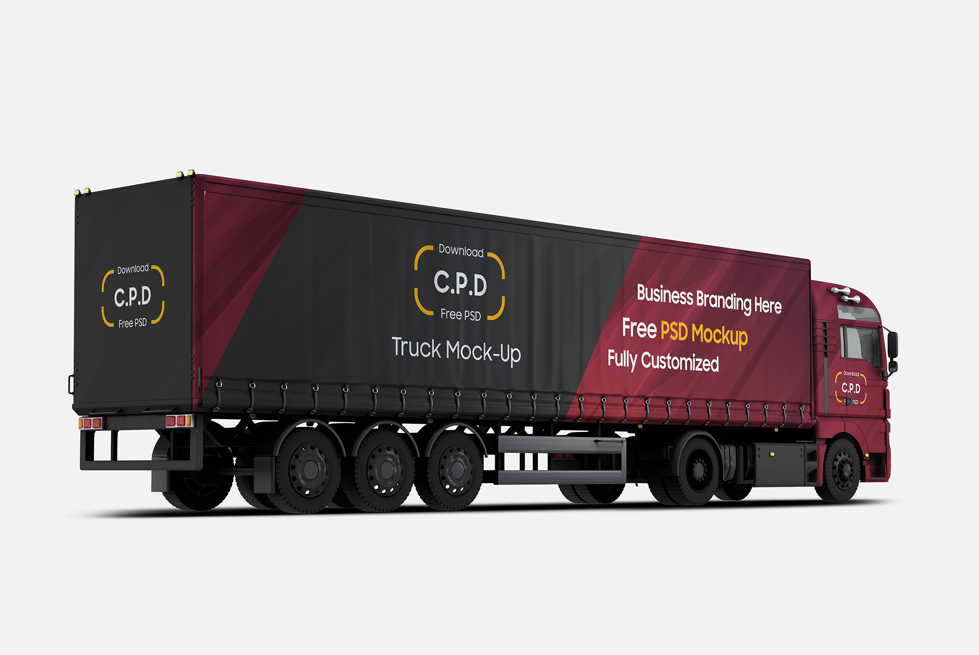 Truck Mockup Right Back Side View Free PSD