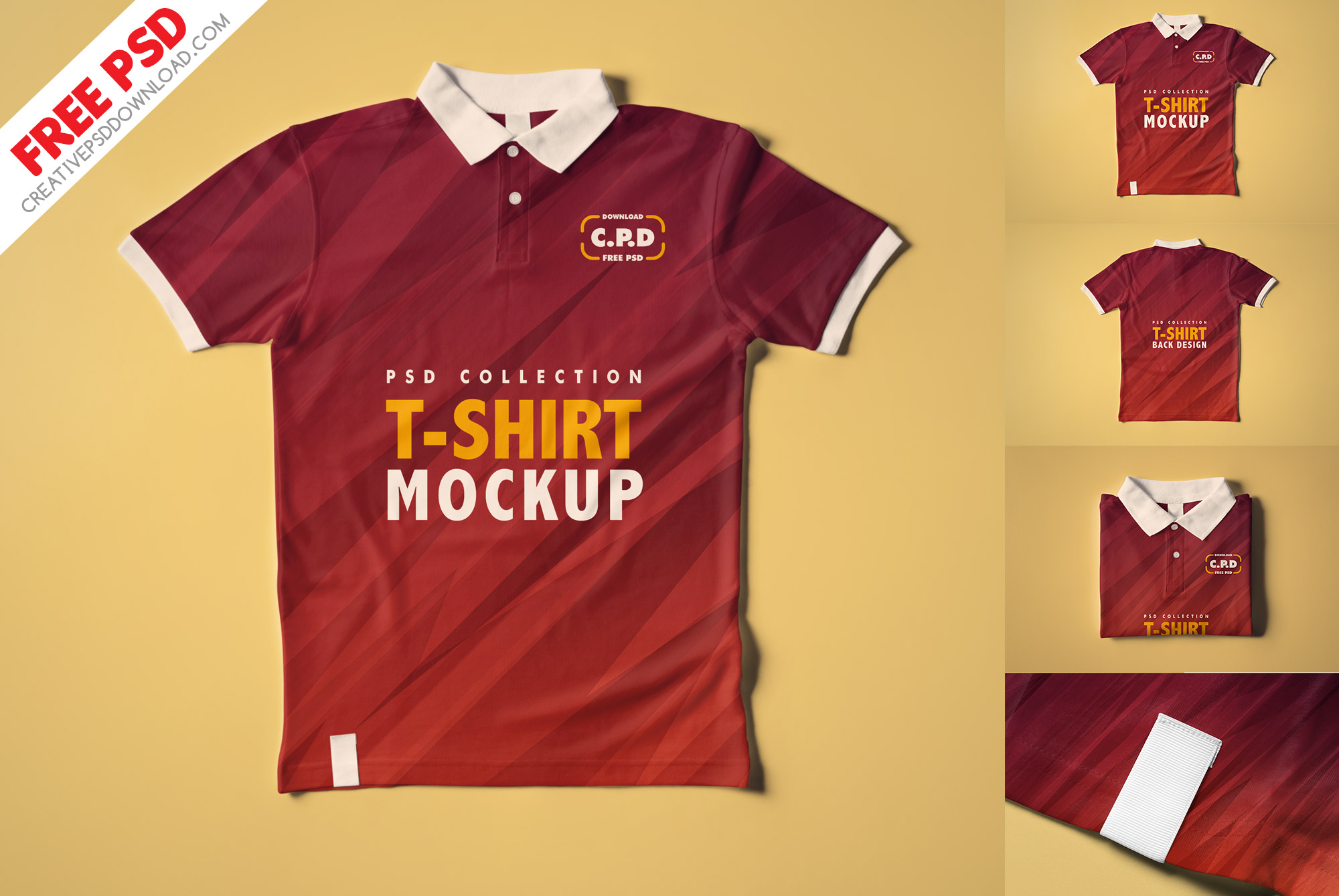 Collar T-Shirt Mockup Collection [3 Psd Mockups],front view, back view