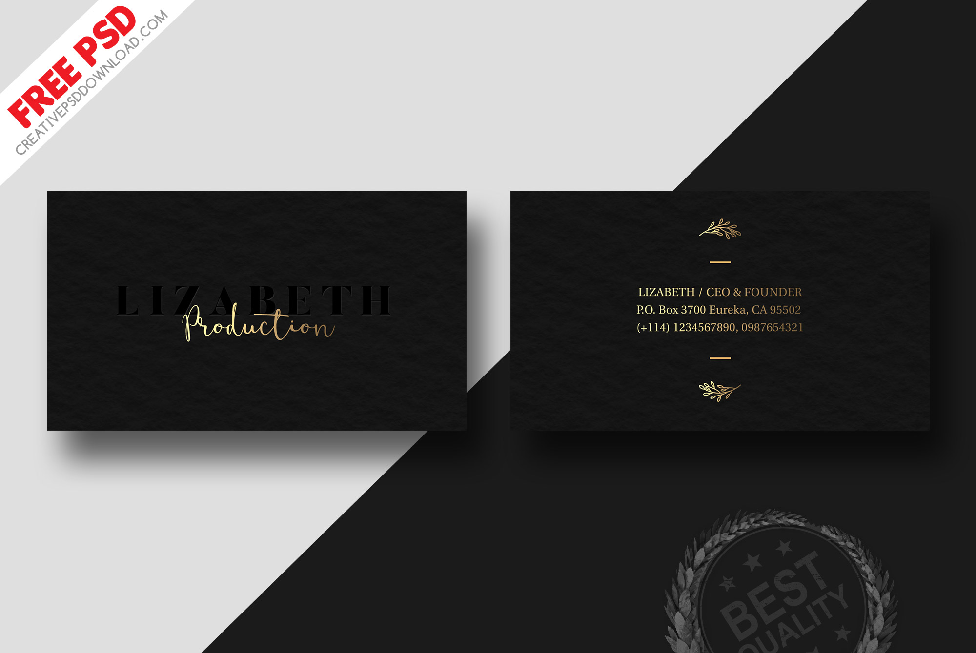 Dark Business Card Design Free Psd