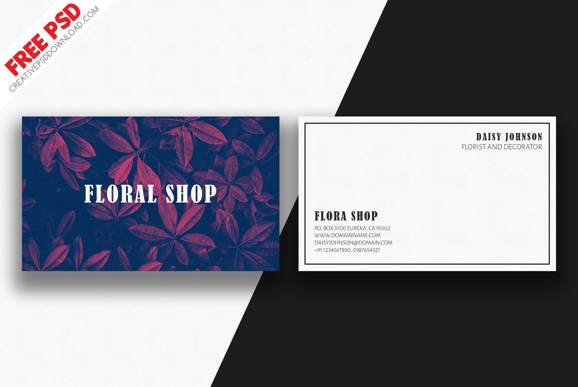Minimal Floral Business Card Free Psd