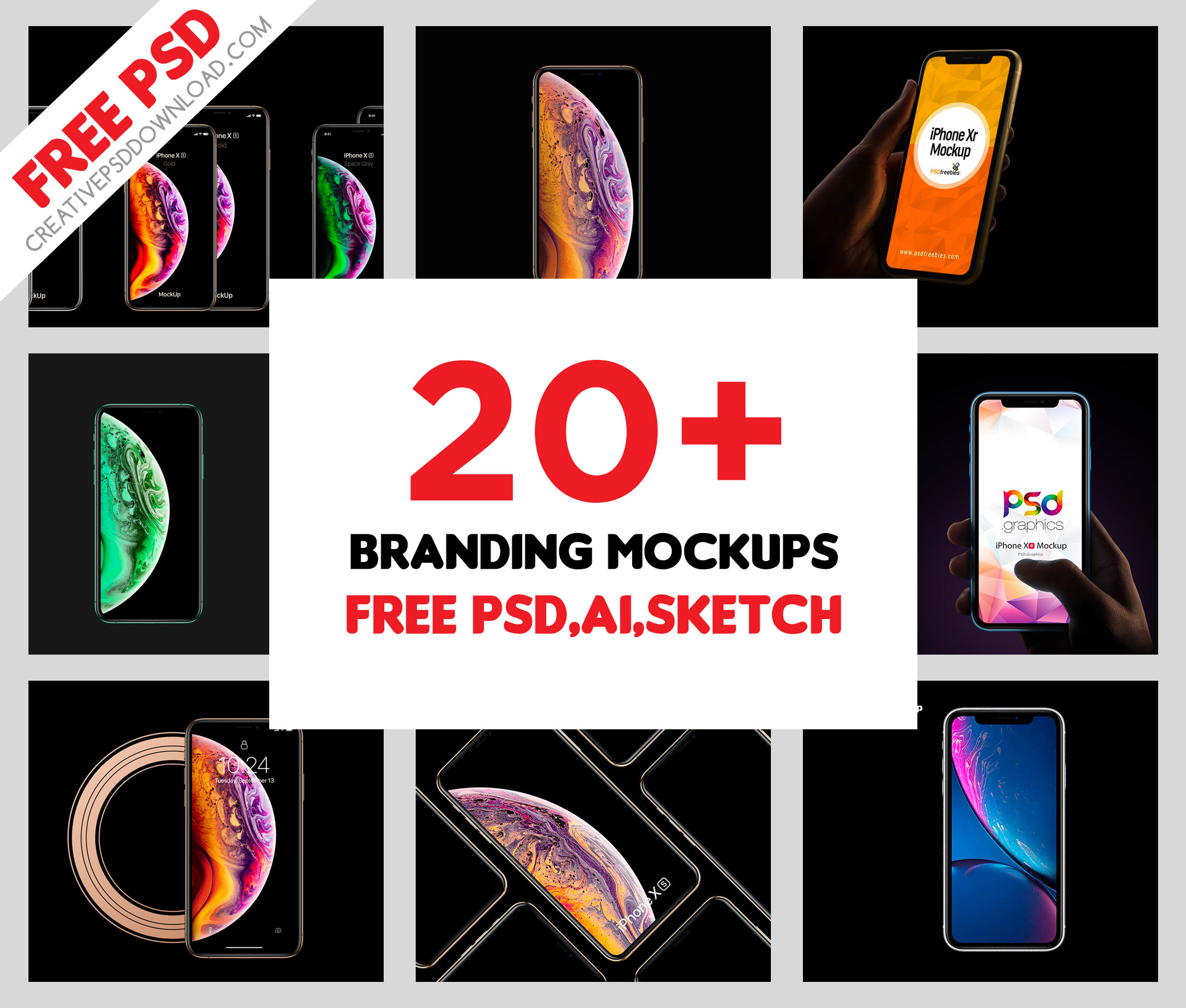 30+ iPhone 11, 11 Pro, 11 Pro Max, XS, XS Max and Xr Free Psd Mockups