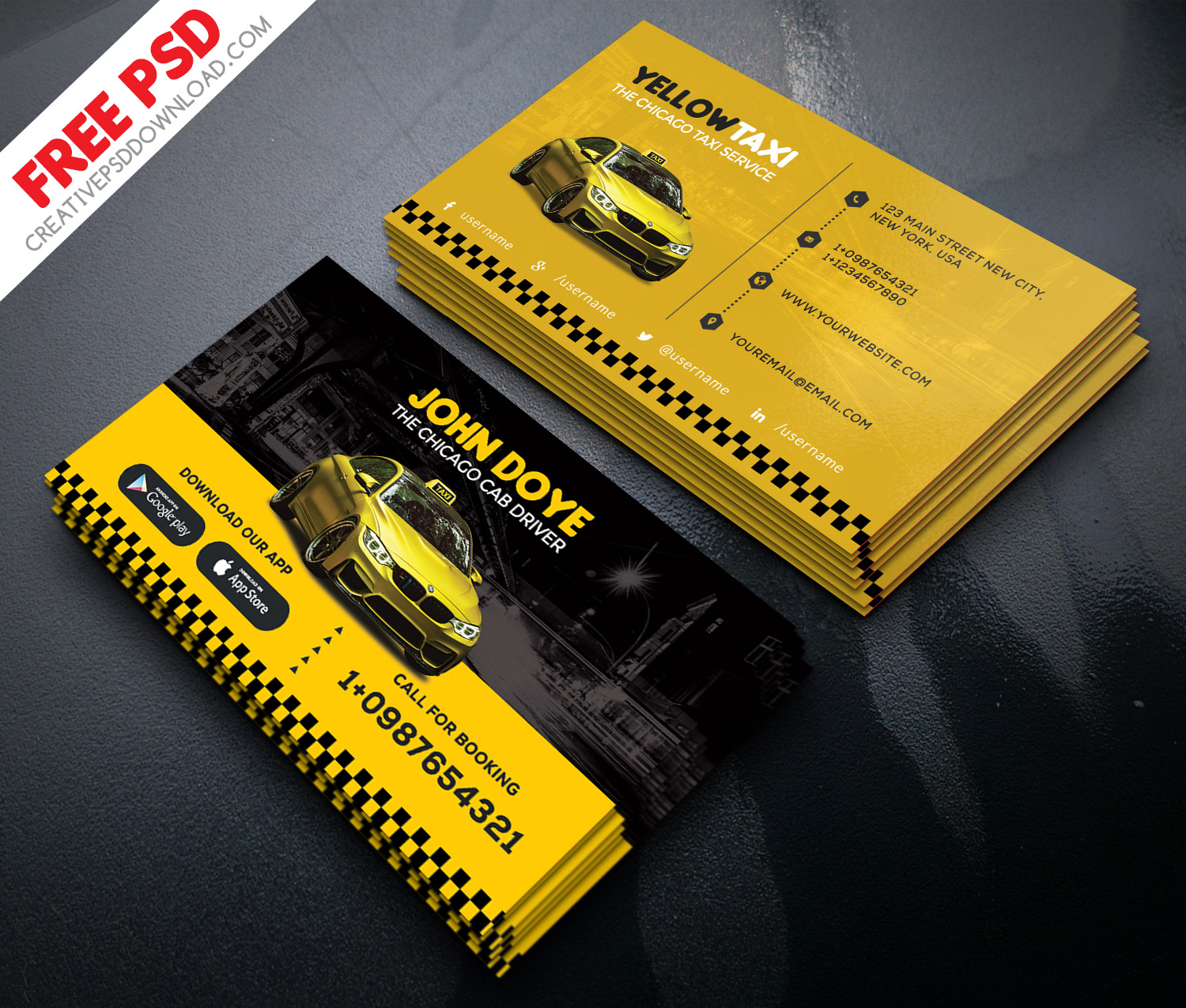 Taxi Service Creative Business Card Free PSD
