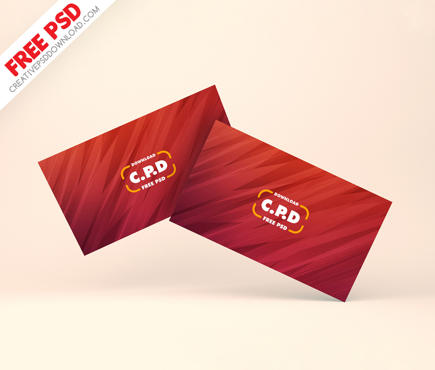 Business Card Floating Mockup Free PSD