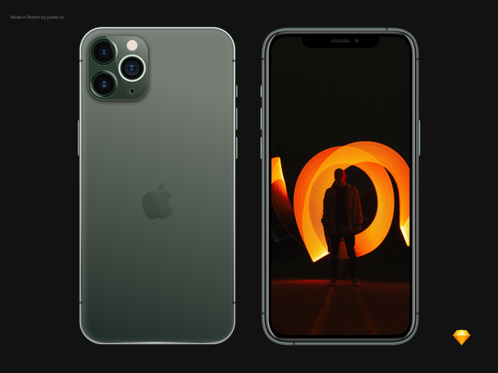 Freebie iPhone 11 Pro Mockup - Sketch