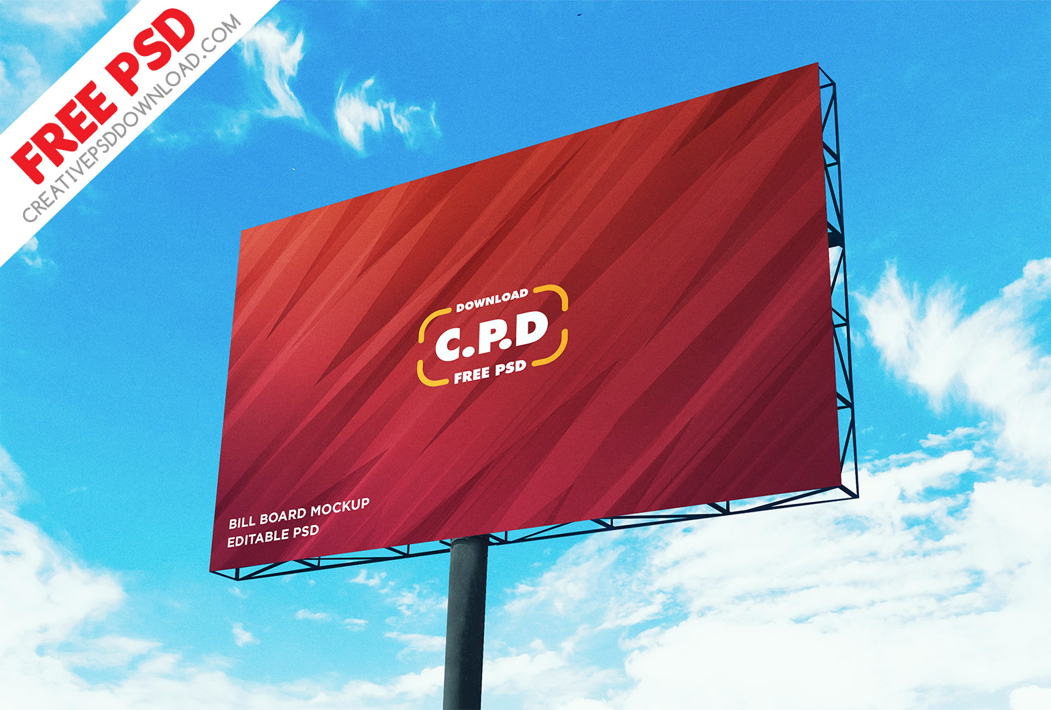 Landscape Outdoor Advertising Billboard Mockup PSD
