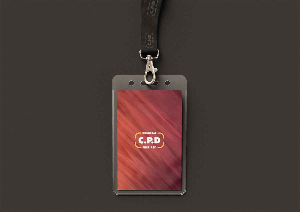 Realistic Employee ID Mockup Free PSD