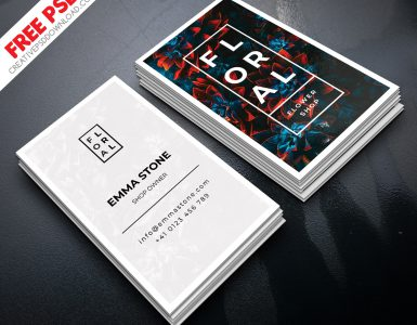 Flower Shop Owner Verticle Business Card PSD