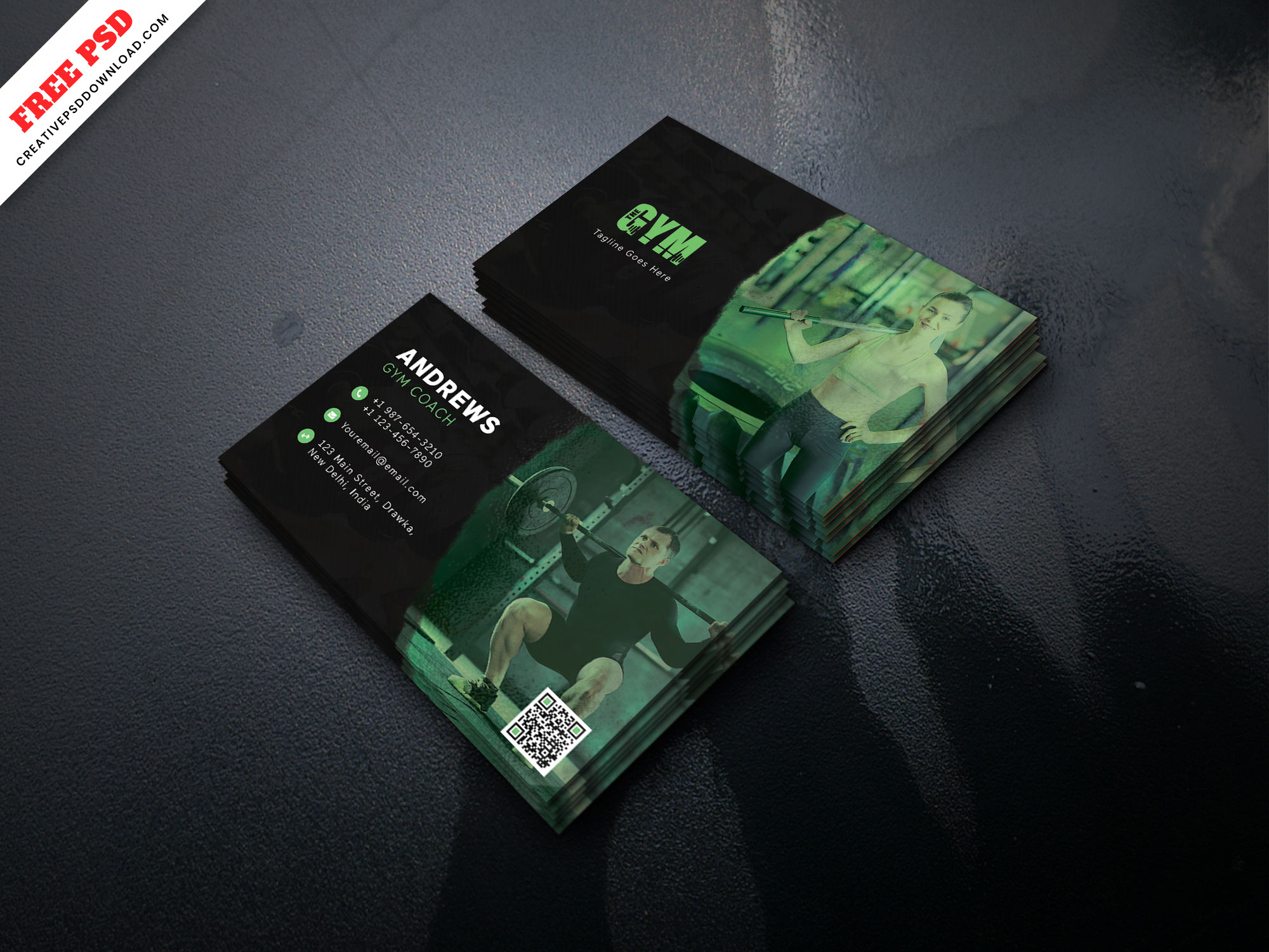 gym coach business card free psd