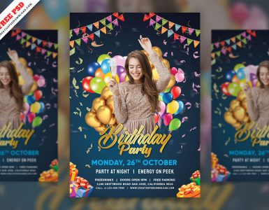 birthday party flyer free psd