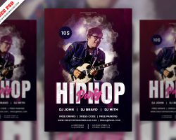 Hiphop DJ Party Flyer Free PSD Free Download