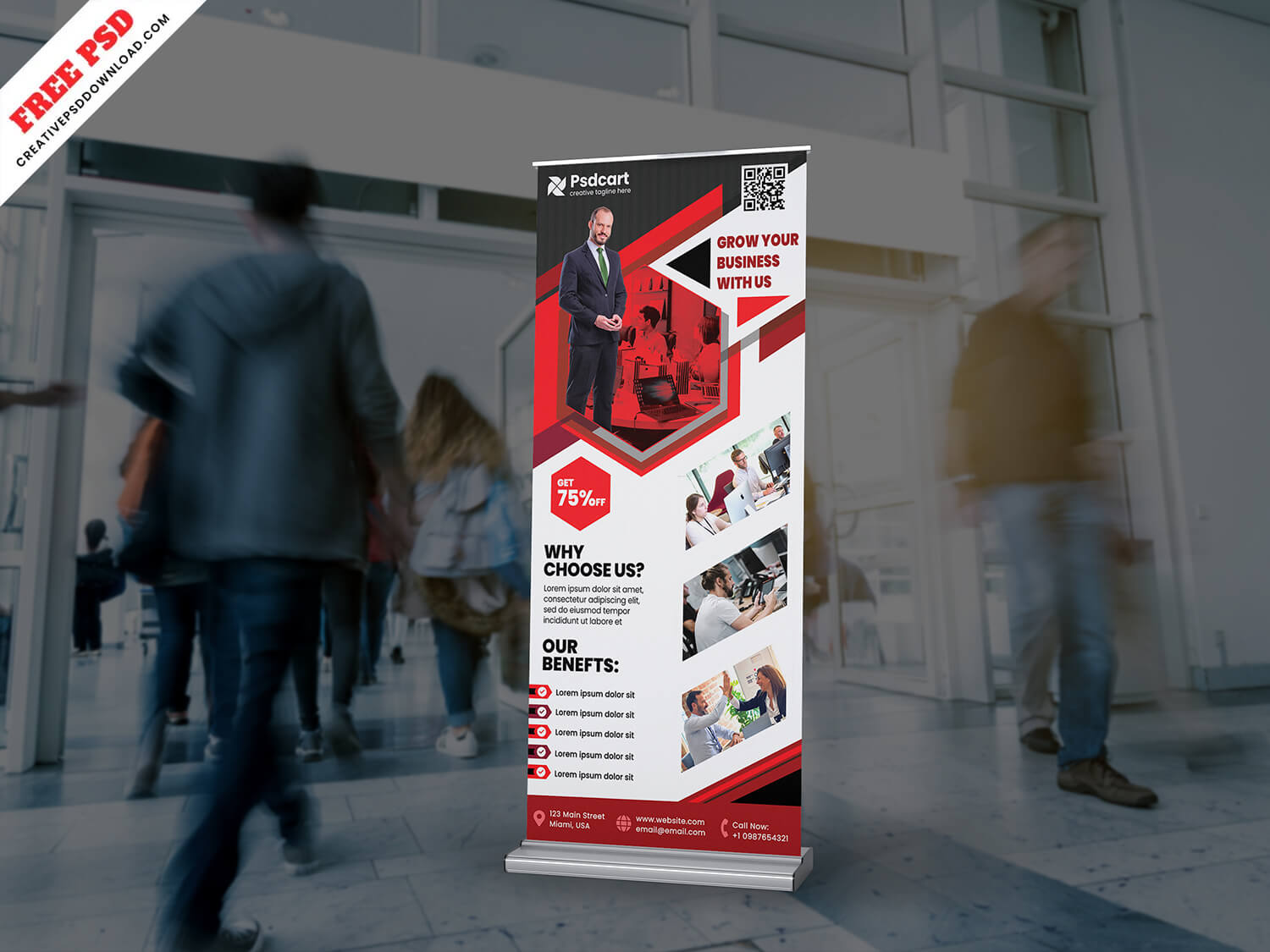 Creative Corporate Roll-Up Banner Design PSD